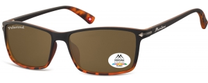 MP51B;; Negro + Carey + lente marrón  Polarized - Rubbertouch - Soft Pouch Included ;57;17;140