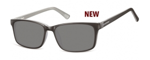 SS-CP150B;; Negro + gris + lentes ahumadas Flex Injected CP Sunglasses - Optical Quality - UV400 - CAT 3. - Soft Pouch Included ;55;17;145